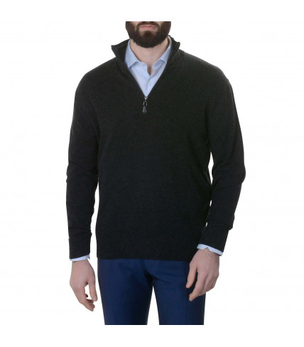 Pure cashmere sweater with zip neck