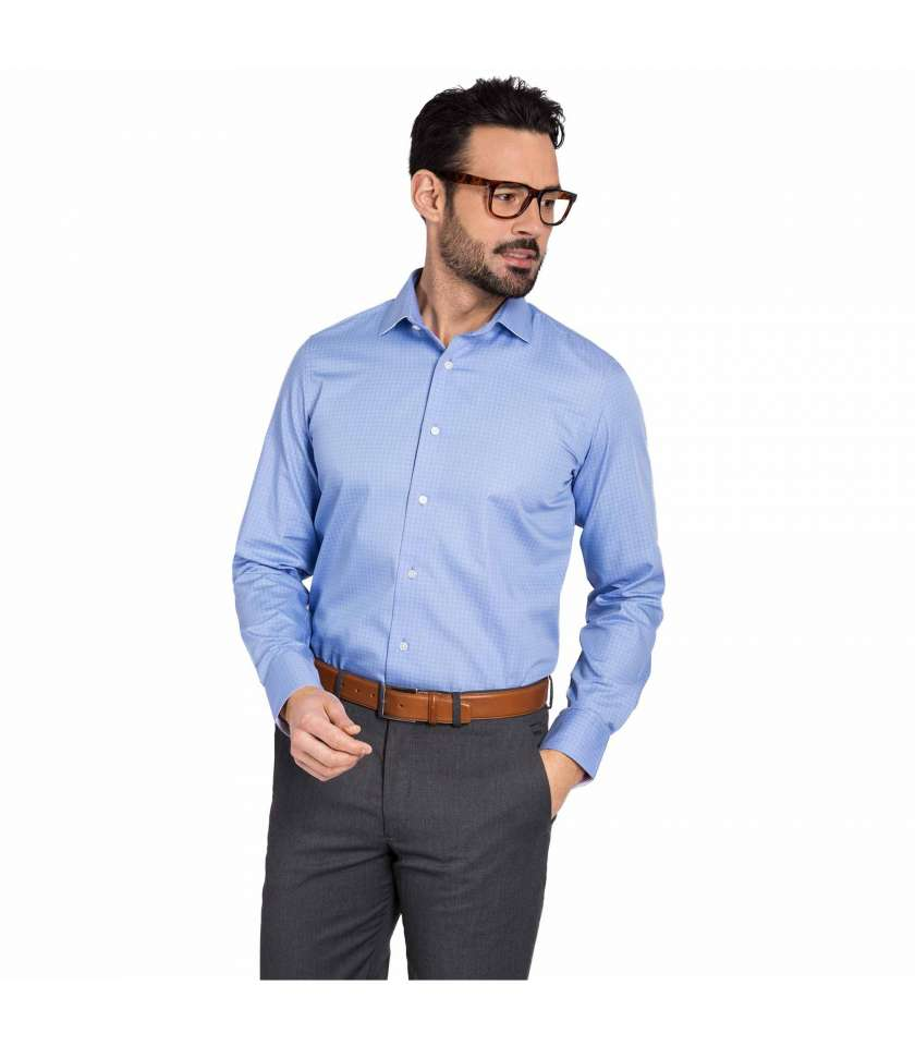Blue checked slim fit dress shirt 100% cotton