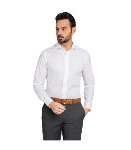 Plain Slim fit dress shirt cotton poplin