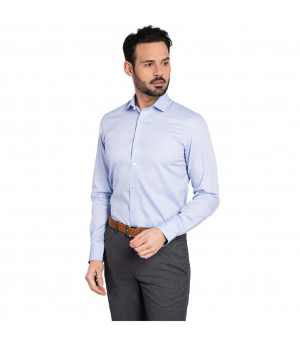 Non iron Plain Slim fit dress shirt 100% cotton