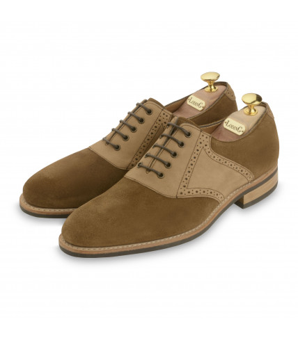 Saddle Oxford Trinidad 438 suede and leather - Camel