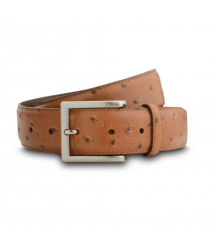 Ostrich pattern leather belt