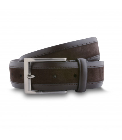 Mens' smooth leather and suede belt