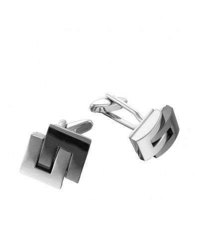Rectangle cufflinks brushed and polished metal