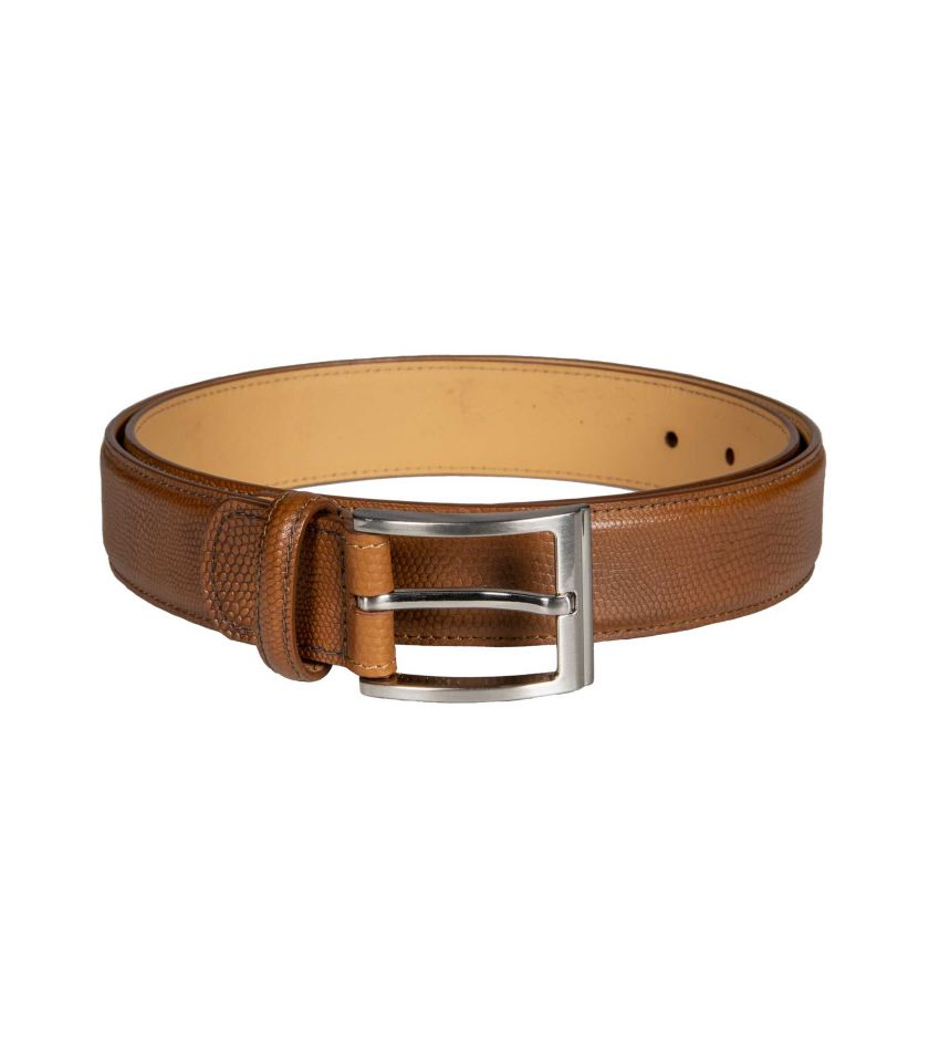 Lizard pattern leather belt